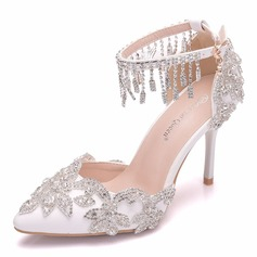 Women's Leatherette Stiletto Heel Pumps Sandals With Tassel Crystal