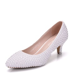 Women's Leatherette Stiletto Heel Closed Toe Pumps With Imitation Pearl