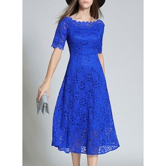 Lace With Lace/Sequins/Embroidery/Hollow Midi Dress (199133955)