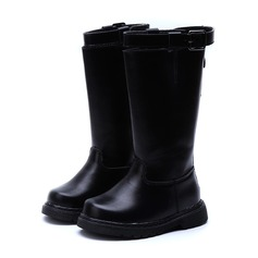 Girl's Closed Toe Over The Knee Boots Leatherette Flat Heel Boots With Buckle Zipper