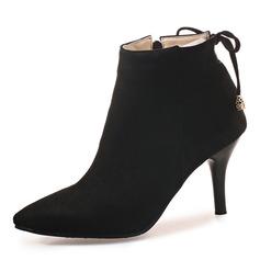 Kvinner Semsket Stiletto Hæl Pumps Lukket Tå Støvler Ankelstøvler med Bowknot Glidelås sko