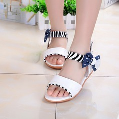 Girl's Patent Leather Flat Heel Peep Toe Flats With Bowknot