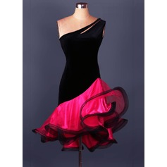 Women's Dancewear Velvet Organza Latin Dance Leotards (115086076)