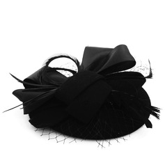 Ladies' Elegant Wool/Tulle With Feather Beret Hat