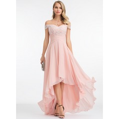 Off-the-Shoulder Asymmetrical Chiffon Evening Dress (271212009)