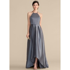 A-Line Square Neckline Asymmetrical Satin Prom Dresses With Ruffle Bow(s)