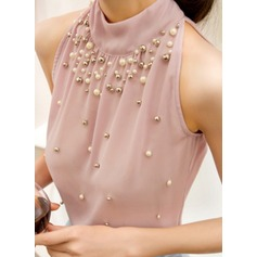 Sleeveless Chiffon Stand-up Collar Casual Blouses Blouses (1003160242)