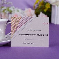 Personalized Dotted Pattern Monogram Pearl Paper Response Cards