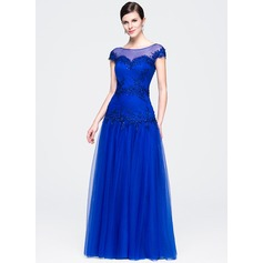 A-Line/Princess Scoop Neck Floor-Length Tulle Evening Dress With Ruffle Beading Appliques Lace Sequins