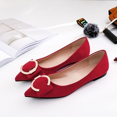 Women's Suede Flat Heel Flats Closed Toe With Buckle shoes (086173047)