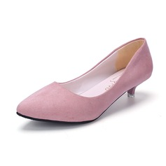 Women's Leatherette Suede Kitten Heel Pumps