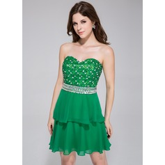 A-Line/Princess Sweetheart Short/Mini Chiffon Homecoming Dress With Lace Beading Sequins