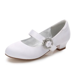 Girl's Round Toe Closed Toe Mary Jane Silk Like Satin Low Heel Flower Girl Shoes With Buckle Rhinestone