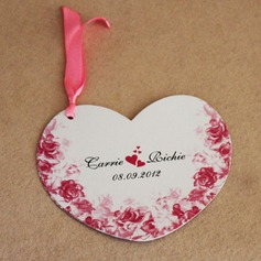 Personalized Flying Hearts Pearl Paper Invitation Cards With Ribbons