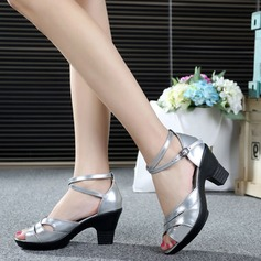 Real Leather Heels Sandals Modern With Ankle Strap Dance Shoes