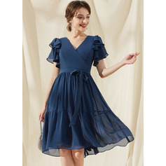 A-Line V-neck Knee-Length Chiffon Bridesmaid Dress With Bow(s) Cascading Ruffles