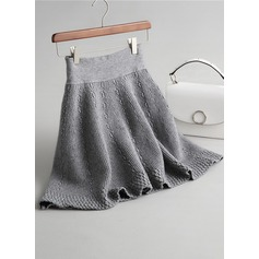 A-Line Skirts Above Knee Plain Knitting Skirts (1005162787)