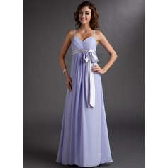 Empire Sweetheart Floor-Length Chiffon Bridesmaid Dress With Ruffle Sash Bow(s)
