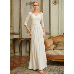 Scoop Neck Floor-Length Chiffon Lace Wedding Dress With Beading Sequins (265255766)