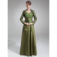 A-Line/Princess V-neck Floor-Length Taffeta Mother of the Bride Dress With Lace Beading