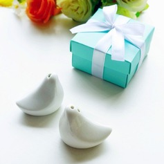 """Love Birds In The Window"" Lovely Birds Ceramic Salt & Pepper Shakers"