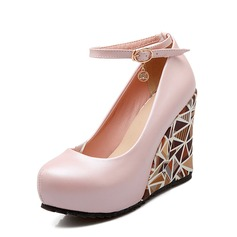 Women's PU Wedge Heel Pumps Platform Closed Toe Wedges With Buckle shoes