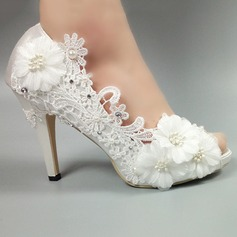 Women's Satin Stiletto Heel Peep Toe Pumps With Imitation Pearl Rhinestone Satin Flower Stitching Lace