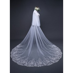 Two-tier Lace Applique Edge Cathedral Bridal Veils With Applique (006125302)