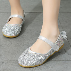 Girl Closed Toe Flats Leatherette Flats Flower Girl Shoes With Bowknot Rhinestone
