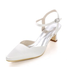 Women's Silk Like Satin Chunky Heel Slingbacks With Others
