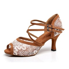 Women's Lace Heels Sandals Latin With Hollow-out Dance Shoes