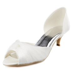 Women's Satin Kitten Heel Peep Toe Sandals With Ruched