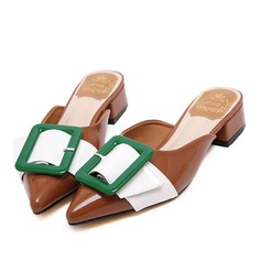 Women's Leatherette Low Heel Sandals Flats Closed Toe With Buckle shoes