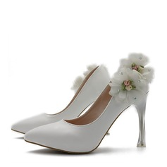 Women's Leatherette Stiletto Heel Closed Toe Pumps With Flower