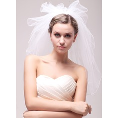 Two-tier Scalloped Edge Elbow Bridal Veils With Faux Pearl