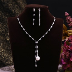 Elegant Zircon/Platinum Plated With Imitation Pearls Ladies' Jewelry Sets