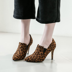 Women's Suede Stiletto Heel Pumps Closed Toe With Animal Print shoes