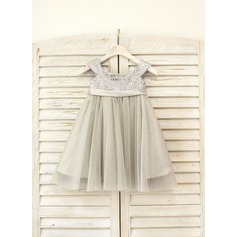 Empire Knee-length Flower Girl Dress - Tulle/Sequined Sleeveless Straps