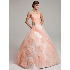 Ball-Gown Strapless Floor-Length Organza Quinceanera Dress With Beading Flower(s) Cascading Ruffles