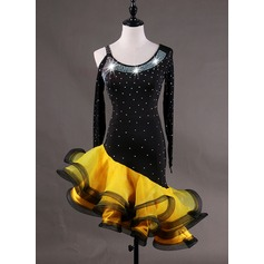 Women's Dancewear Spandex Organza Latin Dance Dresses (115166267)
