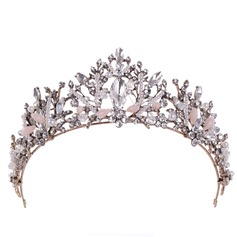 Ladies Exquisite Rhinestone/Alloy/Imitation Pearls Tiaras With Rhinestone/Venetian Pearl (Sold in single piece)