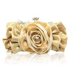 Charming Satin With Flower/Rhinestone Clutches