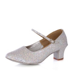Women's Sparkling Glitter Heels Pumps Character Shoes With Buckle Dance Shoes
