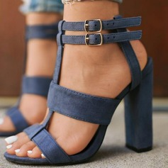 Women's Suede Chunky Heel Sandals shoes (087202483)