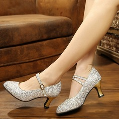 Women's Sparkling Glitter Pumps Modern Jazz Ballroom Salsa Party Tango With Ankle Strap Dance Shoes
