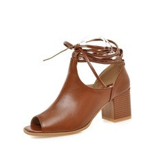 Women's Leatherette Chunky Heel Flats Peep Toe With Braided Strap shoes