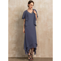 V-neck Ankle-Length Chiffon Mother of the Bride Dress With Beading (267233988)