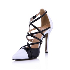 Patent Leather Stiletto Heel Pumps Closed Toe With Buckle Split Joint shoes