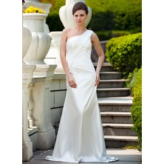 A-Line/Princess One-Shoulder Sweep Train Charmeuse Wedding Dress With Ruffle