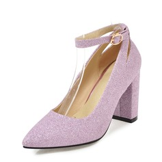 Women's Leatherette Chunky Heel Pumps Closed Toe With Buckle shoes (085171182)